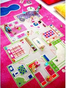 Детский гипоаллергенный игровой 3D ковер IVI, Игровой домик розовый - 100х200 см.