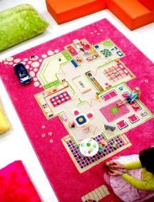 Детский гипоаллергенный игровой 3D ковер IVI, Игровой домик розовый - 134х200 см.