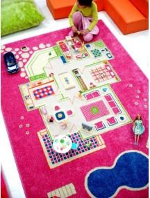 Детский гипоаллергенный игровой 3D ковер IVI, Игровой домик розовый - 160х230 см.