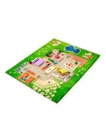 Детский гипоаллергенный игровой 3D ковер IVI, Игровой домик зеленый - 80х100 см.