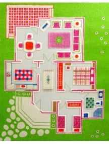 Детский гипоаллергенный игровой 3D ковер IVI, Игровой домик зеленый - 100х150 см.