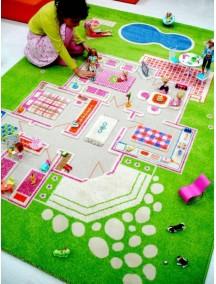 Детский гипоаллергенный игровой 3D ковер IVI, Игровой домик зеленый - 134х200 см.