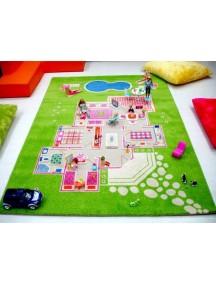 Детский гипоаллергенный игровой 3D ковер IVI, Игровой домик зеленый - 160х230 см.