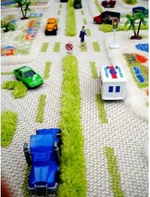 Детский гипоаллергенный игровой 3D ковер IVI, Мини Сити синий - 100х100 см.