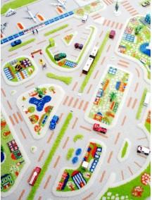 Детский гипоаллергенный игровой 3D ковер IVI, Мини Сити синий - 150х220 см.