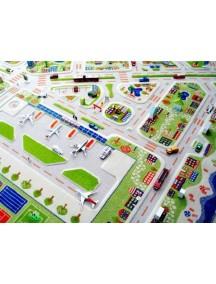 Детский гипоаллергенный игровой 3D ковер IVI, Мини Сити синий - 200х200 см.