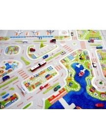 Детский гипоаллергенный игровой 3D ковер IVI, Мини Сити синий - 134х180 см.