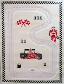 Детский гипоаллергенный игровой 3D ковер IVI, Гонки кремовый - 134х180 см.