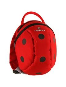 Рюкзак с поводком LittleLife - Божья коровка (1-4) красный с черным