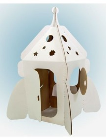 """Домик из картона """"Ракета на Луну"""" CartonHouse,  белый, размер 94х65х91см"""