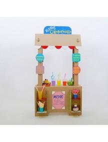 "Домик из картона ""Кафе сковородка"" CartonHouse, белый  размер 80х43х156см"