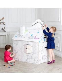 Домик из картона с раскраской, «Классика» CartonHouse, размер 98х68х98см