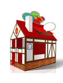 Домик из картона со сменным Цветным декором CartonHouse, размер 98х68х98см