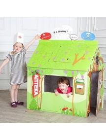 """Домик из картона со сменным Цветным декором """"Доктор Айболит"""" CartonHouse, размер 98х68х98см"""