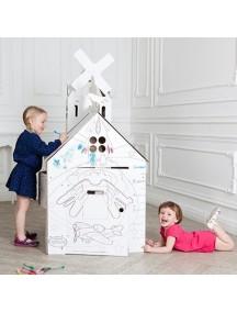 Домик из картона КЛАССИКА с чердаками «Мельница» + «Башня» CartonHouse, размер 98х68х98см