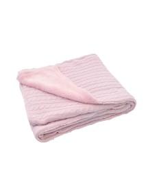 Вязаный плед (косичка) с мехом Jollein 75х100 см, цвет светло-розовый