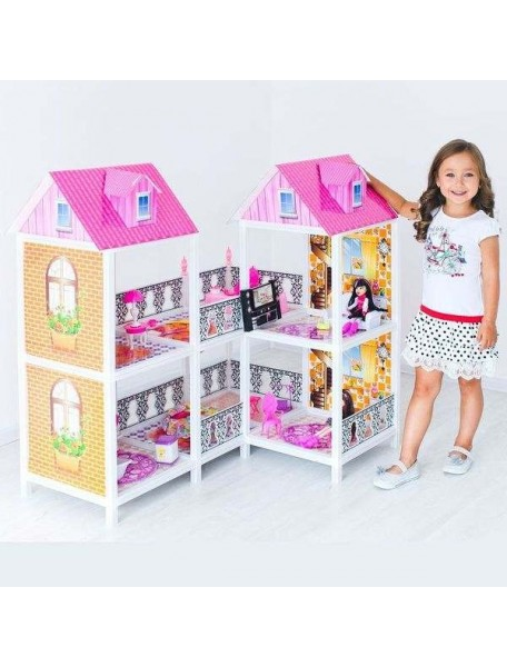 Дом для кукол Барби 2 этажа с переходами угловой (Z), PAREMO