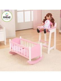 """Набор """"Любимая кукла"""" (кроватка и стульчик для кормления), цв. Розовый, KidKraft"""