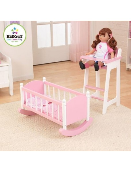 """Набор """"Любимая кукла"""" (кроватка и стульчик для кормления), цв. Розовый, PAREMO"""