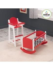 """Набор """"Любимая кукла"""" (кроватка и стульчик для кормления), цв. Красный, KidKraft"""