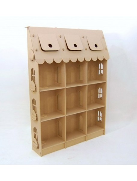 """Домик из картона """"Стеллаж для игрушек"""", коричневый, размер 135х180х28 см"""