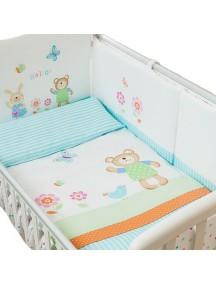 Комплект в кроватку Перина Глория 3 предмета Hello Бирюзовый