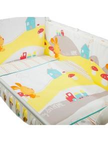 Комплект в кроватку Перина Кроха 3 предмета Веселый кролик Белый