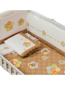 Комплект в кроватку Перина Тиффани 3 предмета Цветы Коричневые