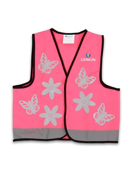 Светоотражающий жилет LittleLife Бабочки Розовый с серебристым (104см)