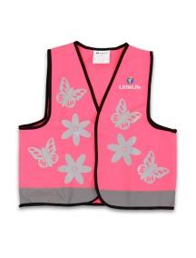 Светоотражающий жилет LittleLife Бабочки Розовый с серебристым (121см)