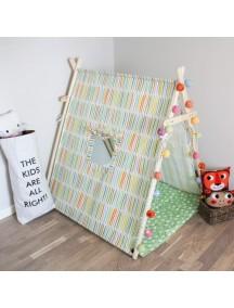 Игровая палатка с окном ручной работы для детей, Rainbow Stripes