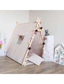 Игровая палатка с окном ручной работы для детей, Pink Stripes