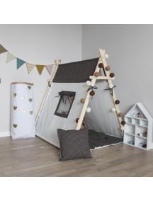 Игровая палатка с окном ручной работы для детей, Brown Dots