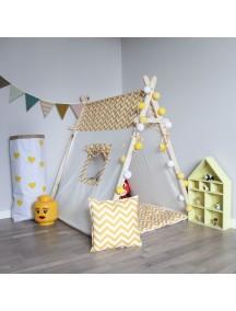 Игровая палатка ручной работы для детей, Yellow Zigzag с окном