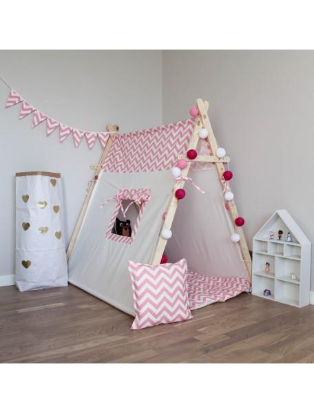 Игровая палатка ручной работы для детей, Pink Zigzag