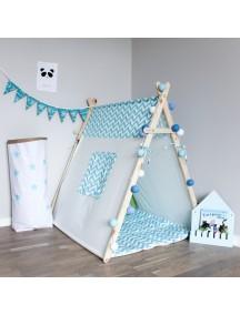 Игровая палатка ручной работы для детей, Blue Zigzag с окном