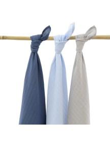 Комплект многоцелевых пеленок (муслин) Jollein 115х115 см, 3 шт, синий/серый/голубой