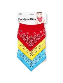 Набор из 3х бандан-слюнявчиков для мальчика (Красный, желтый, голубой), Mustachifier