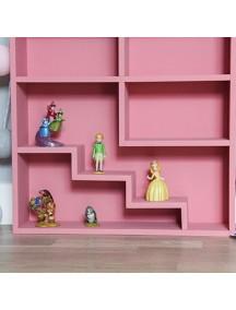 Полка-домик для игрушек с лестницей и без (розовый)
