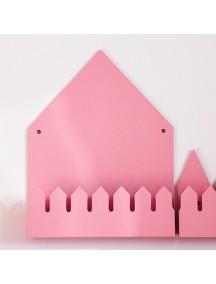 Полка домик с крючками Oslo (большой, розовый)