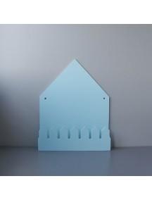 Полка домик с крючками Oslo (большой, голубой)
