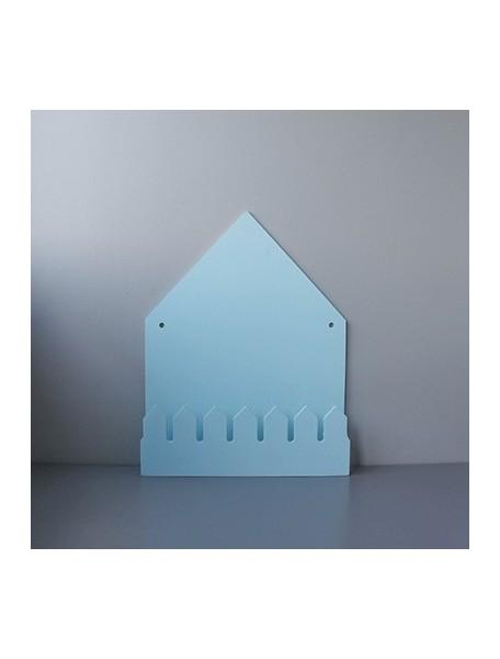 Полка домик с крючками (большой, голубой)