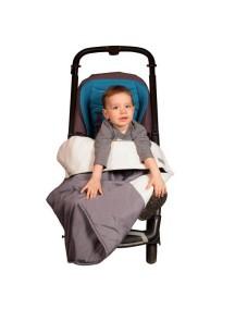Одеяло в коляску. Цвет: Серый со слоновой костью