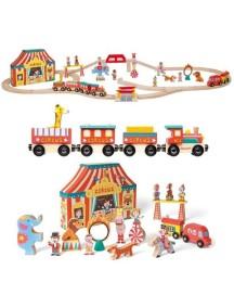 """Игровой набор """"Цирк"""" (19 игрушек, поезд, ж/д из 26эл.) Janod"""