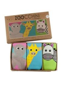 Многослойные трусы Zoocchini для девочек (3 шт: жираф, зебра, слоник)