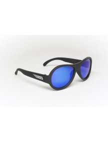 Солнцезащитные очки Бэбиаторс Эйсес Авиаторы Спецназ черный, синие линзы. (6+)  лет (Babiators Aces Aviator Black Ops)