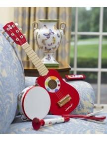 Набор красных музыкальных инструментов - гитара, бубен, губная гармошка, дудочка, трещотка Janod