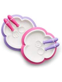 BabyBjorn Комплект тарелок с 2-мя ложками и вилками, Розовый - Лиловый