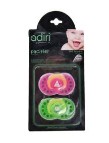 Пустышка Adiri Logo Pacifiers (2 шт), размер 1, 0-6 мес., pink and green (Адири)