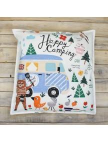 Интерьерная подушка ручной работы, Happy Camping 50 х 50 см